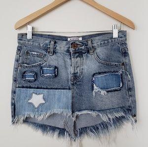 ONE TEASPOON Junkyard Rigid Denim Mini Skirt 26